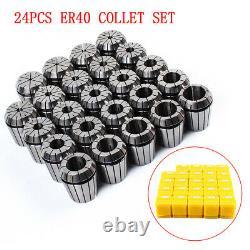 24Pcs ER40 Precision Spring Collet Set Milling Lathe CNC Chuck Bit Holder Tool
