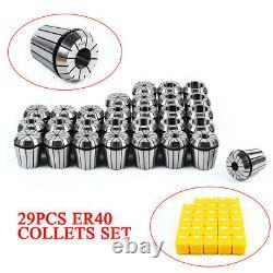 29Pcs ER40 Spring Collet Set Precision Milling Lathe CNC Chuck Bit Holder Tool