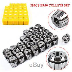 29 Pcs ER40 Precision Spring Collet Set Milling Lathe CNC Chuck Bit Holder Tool