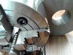 6 4-JAW LATHE CHUCK w independent jaws w 2-1/4-8 adapter semi-finish #0604F0
