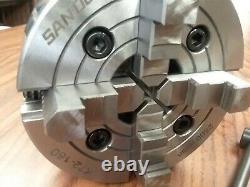 6 4-JAW LATHE CHUCK w independent jaws w D1-4, D4 adapter semi-finish #0604F0