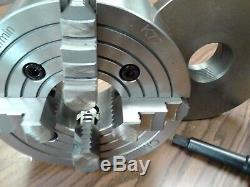 8 4-JAW LATHE CHUCK w. Independent jaws w. 2-1/4-8 adapter semi-finish#0804F0