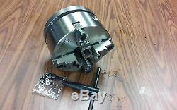 8 4-Jaw Self-Centering Lathe Chuck top&bottom jaws w. 1-1/2-8 adapter-new