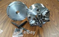 8 6-JAW SELF-CENTERING LATHE CHUCK w. Top&bottom jaws, w. 1-1/2-8 adapter-new
