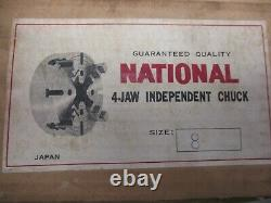 8 LATHE CHUCK 4 jaw independent, Key, bolts, flat back NEW! MADE IN Japan