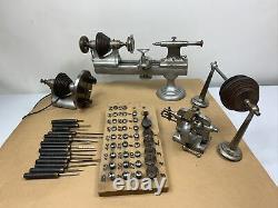 American Watch Clock Makers Lathe 8 MM Cross Slide Collets, Chucks, & Tools