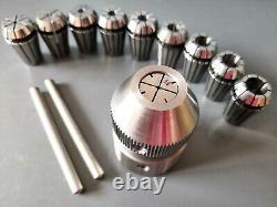Emco Unimat 3, 4 & PC Lathe ER16 Collet Chuck & 10 Collets M14X1 ESX16
