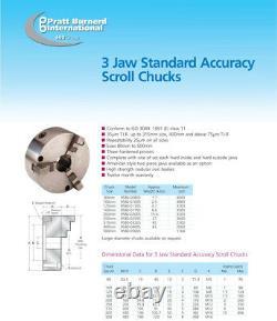 Pratt Burnerd 3 Jaw Lathe Chuck 250mm Standard Accuracy With 2 sets of Hard Jaws