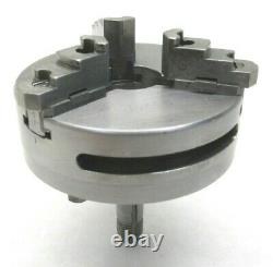 SWISS! WATCHMAKER'S 70mm REVERSIBLE 3-JAW LATHE CHUCK with LEVIN D COLLET MOUNT