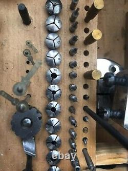 Watchmakers lathe. By G Boley 8mm. Original Box. Numerous Collets And parts
