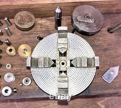 Wolf Jahn Jeweler Watchmaker 6mm Lathe with 4-Jaw Chuck Collets Many Accessories